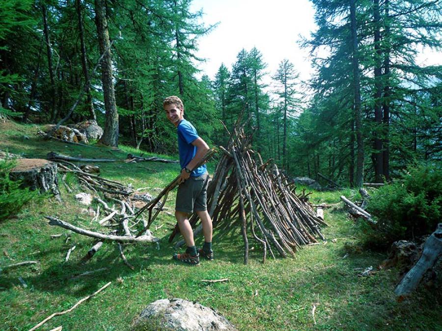 Abris bushcraft bois survie